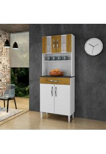 Armário De Cozinha 4 Portas 2 Com Vidro 1 Gaveta Milão Arte Móveis Branco/Ipê
