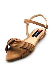Sandalia Rasteira Love Shoes Bico Folha Tiras Cruzadas Castor