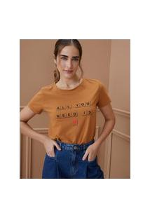 Amaro Feminino T-Shirt All You Need Is Love, Caramelo
