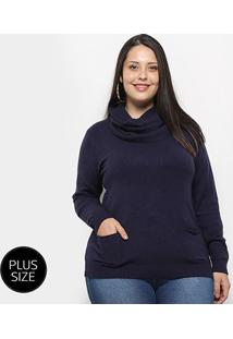 Blusa Tricot City Lady Plus Size Gola Removível Feminina - Feminino-Marinho