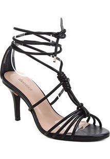 Sandália Couro Shoestock Charm Salto Fino Feminina - Feminino-Preto