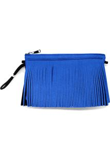 Bolsa Neoprene Truzz Capri Franja Azul - Azul - Feminino - Dafiti