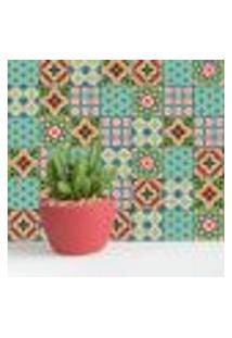 Adesivo De Azulejo Verde Cacto 20X20 Cm Com 12Un