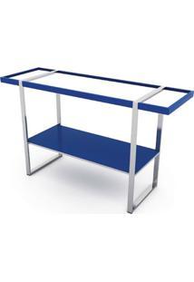 Aparador Dorm Azul Estrutura Cromada Com Espelho 1,40 Mt (Larg) - 41116