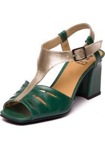 Sandália Mzq Em Couro Verde Esmeralda Metalizado Prata 5974
