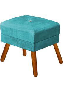 Puff Decorativo Bella Suede Azul Tiffany Com Strass E Pés Palito - D'Rossi