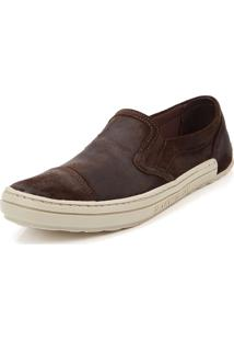 Tênis Casual Side Walk Tênis Slip On Fly Café