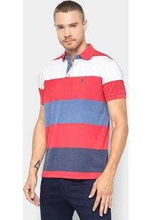 Camisa Polo Aleatory Fio Tinto Listrada Masculina - Masculino-Vermelho+Branco