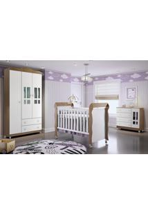 Dormitório Guar. Roupa Ariel 3Pts / Fraldário Ariel E Berço Mirelle Amadeirado Marrom/Branco