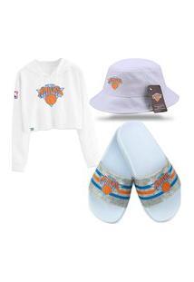 Moletom Cropped, Chinelo Slide E Bucket Branco Personalizados New York Knicks.