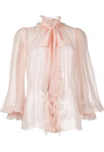 Dolce & Gabbana Blusa Com Acabamento De Babados - Rosa