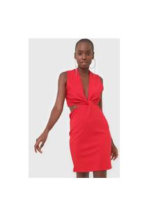 Vestido Triton Curto Recortes Vermelho