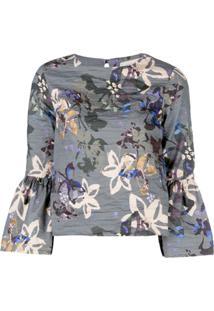 Nicole Miller Autumn Dream Print Blouse - Cinza