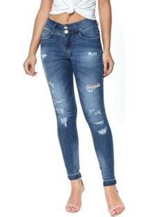 Calça Jeans Cigarrete Denuncia Mid Rise Skinny 206324170 Azul 50 - Feminino