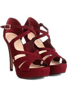Sandália Couro Shoestock Meia Pata Cruzada Feminina - Feminino-Vinho