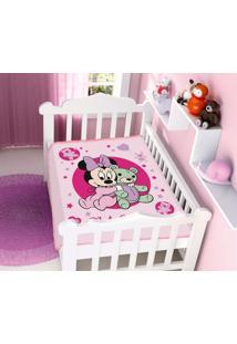 Cobertor Infantil Disney Rosa Minnie E Ursinho Jolitex