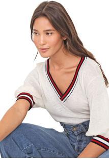 Camiseta Linho Triton Listras Off-White/Vermelha