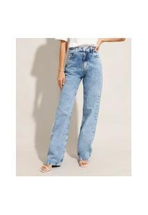 Calça Jeans Feminina Mindset Reta Loose Copenhagen Cintura Super Alta Azul Médio Marmorizado