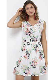Vestido Pérola Curto Regata Floral - Feminino-Branco