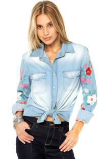 Camisa Jeans Dafiti Ontrend Bordado Azul