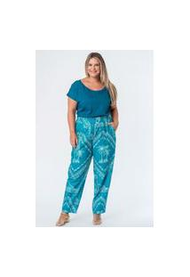 Calça Sarja Estampada Bandana Plus Size Azul Turquesa