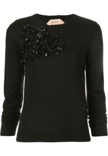Nº21 Suéter Com Aplicação Floral - Preto