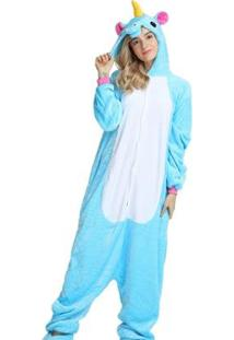 Pijama Rioutlet Macacão Unicórnio Feminino - Feminino-Azul