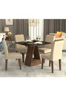 Conjunto De Mesa De Jantar Alana Com 4 Cadeiras Taís Suede Marrocos E Bege