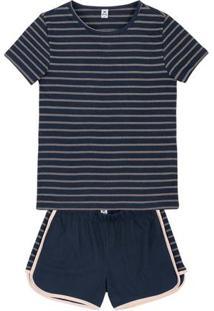 Pijama Feminino Em Malha Com Blusa Listrada E Shorts Com Recorte Lateral