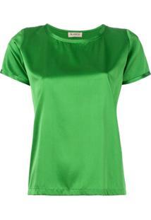 Blanca Blusa Mangas Curtas - Verde
