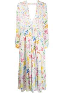 Mira Mikati Vestido De Linho Com Estampa Floral - Branco