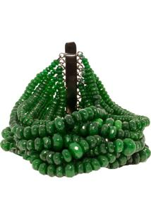 Pulseira Com 700 Pedras Naturais Esmeralda Acess Em Ródio Negro By Cris Arcangeli