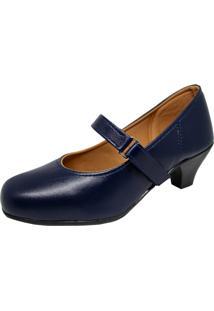 Sapato Social Boneca Fechado Salto Baixo Confort Azul Marinho. - Azul - Feminino - Couro Sintã©Tico - Dafiti