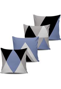 Kit 4 Capas Almofadas Geometrica Abstrata Lilas Preto 45X45 - Tricae