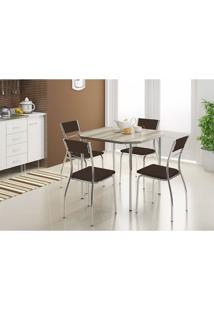 Mesa 1510 Nogueira Cromada Com 4 Cadeiras 1701 Cacau Carraro
