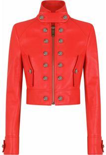 Dolce & Gabbana Jaqueta Cropped De Couro - Vermelho