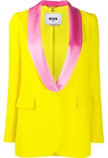 Msgm Blazer Com Lapelas Contrastantes - Amarelo