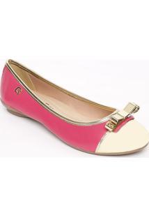 Sapatilha Com Laço Metálico Em Couro- Pink & Douradacarmen Steffens
