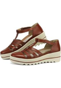 Sandália Plataforma Em Couro Sapatofran Com Velcro Feminina - Feminino-Marrom