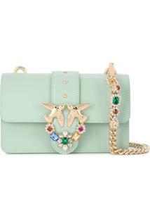 Pinko Love Embellished Mini Shoulder Bag - Verde