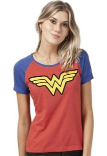 Camiseta Bandup! Raglan Wonder Woman Logo - Feminino-Vermelho+Azul