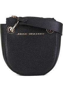 Bolsa Couro Jorge Bischoff Mini Bag Alça Transversal Feminina - Feminino-Preto