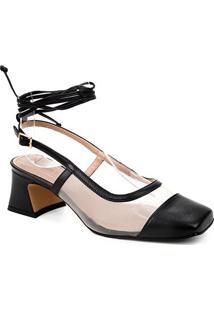 Scarpin Couro Shoestock Bico Quadrado Tela Salto Bloco Médio - Feminino-Preto