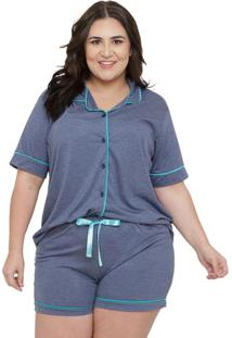 Pijama Feminino Curto Plus Size Com Abertura Frontal Luna Cuore