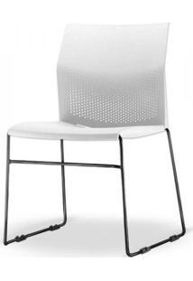 Cadeira Connect Assento Branco Base Fixa Preta - 53762 - Sun House
