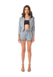 Jaqueta Cropped Com Termocolante Jeans