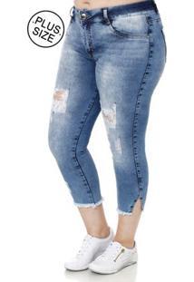 Calça Jeans Cropped Plus Size Feminina Amuage Azul