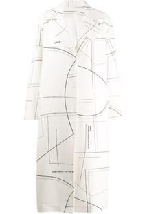 Ruban Casaco Midi De Cashmere E Lã Com Padronagem - Branco