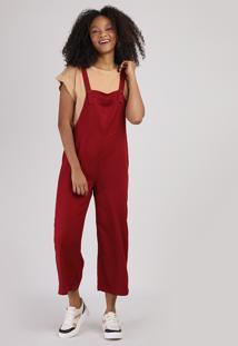 Macacão Feminino Pantacourt Com Bolso Vermelho Escuro