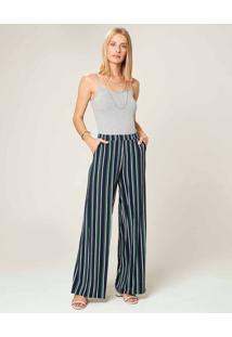 Calça Pantalona Listrada Em Viscose Malwee Azul Escuro - P